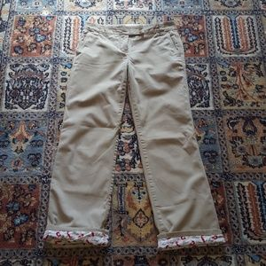 J CREW flannel lined twill khaki Chinos size 2P